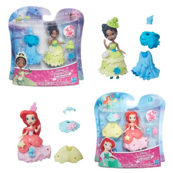 Disney Princess Little Kingdom Fashion Change Tiana or Ariel 3 inch Doll